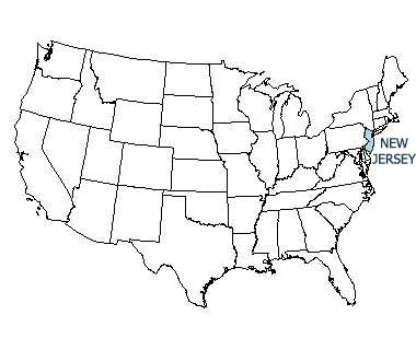 USA map with New Jersey highlighted