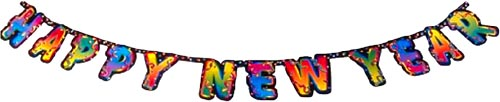 Happy New Year banner with colorful letters.