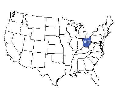 USA map with Ohio highlighted