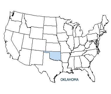 USA map with Oklahoma highlighted