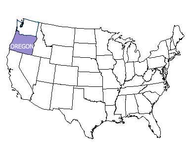 USA map with Oregon highlighted