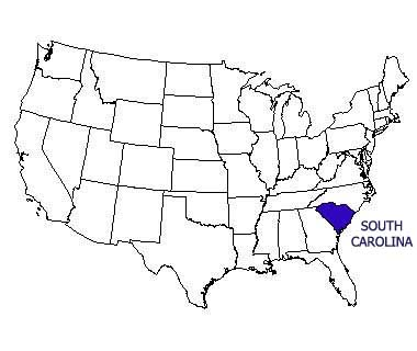 USA map with South Carolina highlighted