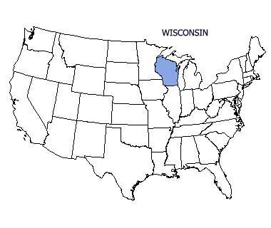 USA map with Wisconsin highlighted