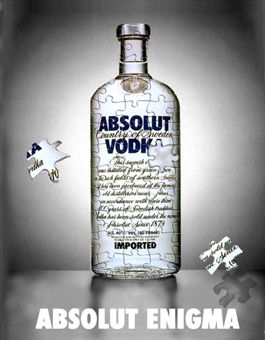 Alcohol ads: Absolut vodka enigma ad