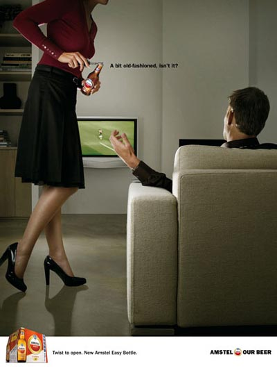 Amstel commercial - woman opening bottle for her man!