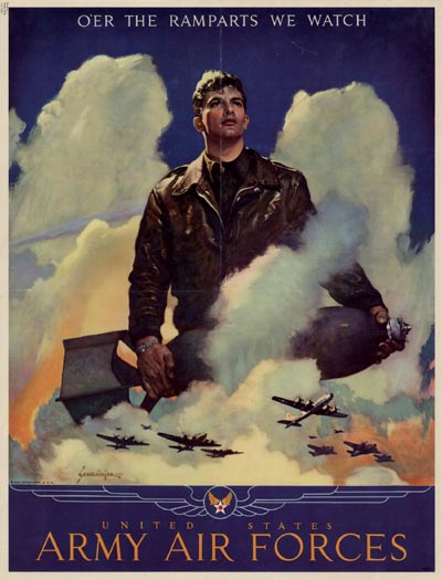 Old vintage wartime poster featuring the good American soldier.