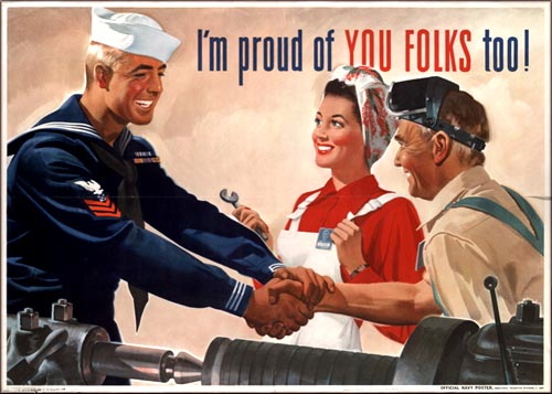 Old American wartime poster featuring the 'good guys'.