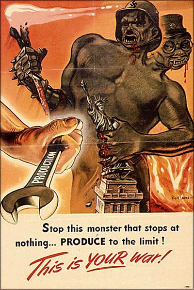 Old vintage American wartime poster anti Nazi and anti Japanese.