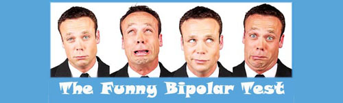 Bipolar Test: Man with four different moods and facial expressions.