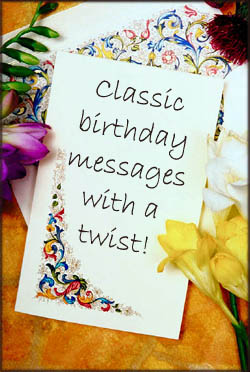 Writing classic birthday greetings with a twist. Pretty birthday card.