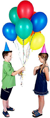 Inspirational birthday poetry: Little boy giving girl lots of balloons.