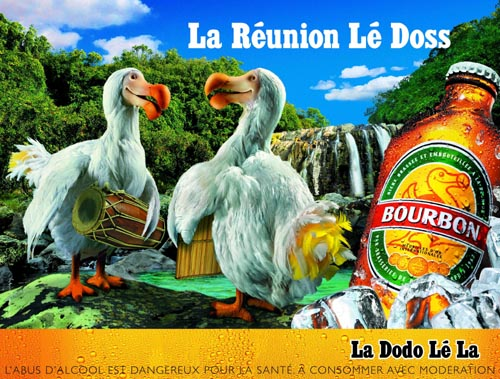 Bourbon dodo beer commercial - La reunion lé Doss. Two dodos.