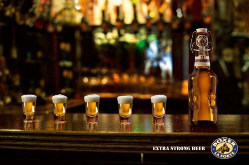 Boxer la Forte beer ad - Extra strong beer drunk in shots rather than beer glasses