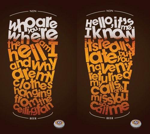 Buckler beer commercial - glasses with letters inside.