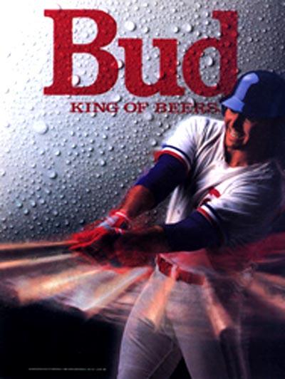 Budweiser beer commercial - Man swinging a baseball bat. King of beers