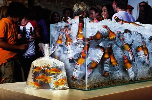 Great Budweiser ads with Budweiser bottles in the aquarium instead of fish - great alcohol ads