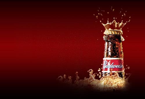 Budweiser commercials - Picture of Budweiser bottle with crown and red background