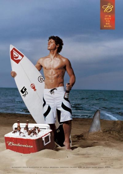 Fabulous Budweiser beer commercial - man on the beach with a shark coming in - great alcohol ads