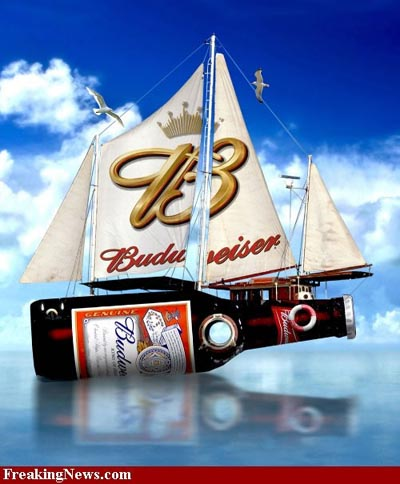 Budweiser bottle as a ship with sails - the best beer ads