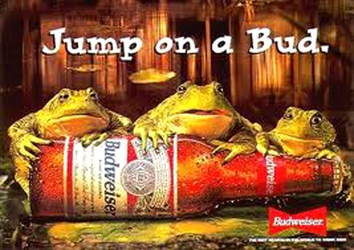 Budweiser commercials - Three Budweiser frogs, Jump on a bud - beer ads