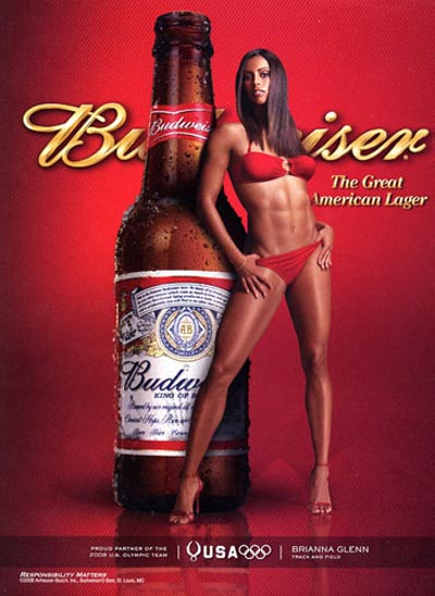 Budweiser beer commercial - Woman, Brianna Glenn standing in bikini and high heels next to a Budweiser bottle - alcohol ads at their best