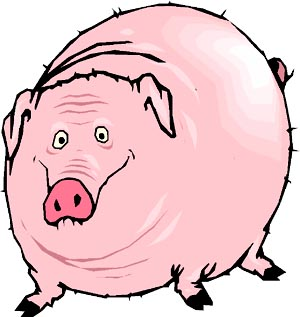 Funny drawing of happy, fat pig.