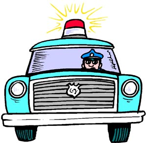 Cartoon drawing of police car with police man. Funny car jokes and driving jokes.