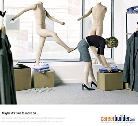 Careerbuilder.com commercial - very funny ads with mannequin kicking woman's ass
