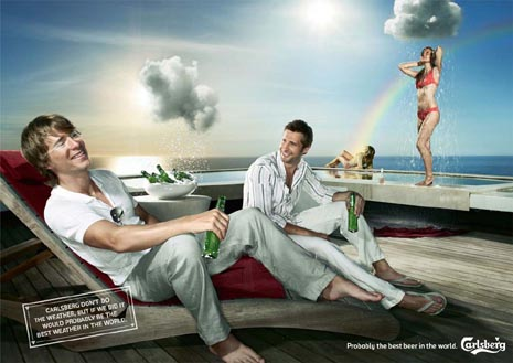 Carlsberg commercial -funny beer ads - raining on wet girl and beer