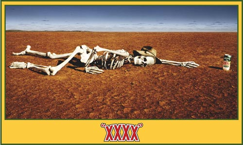 Castlemaine XXXX ad - Skeleton reaching for a beer in the desert!