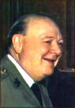 Winston Churchill: Colored photograph of smiling Churchill in profile.