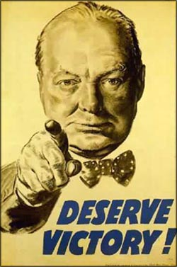 Winston Churchill: Old Second World War Poster with Churchill pointing: Deserve Victory.