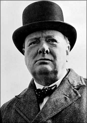 Winston Churchill quotes: Photo of Winston Churchill with his famous bowler hat.