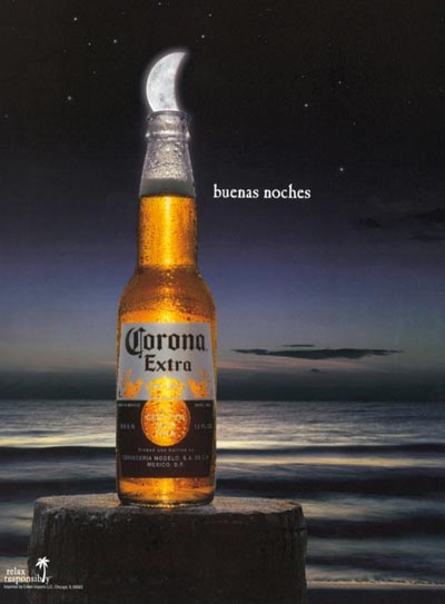 Corona Extra beer commercial - Buenas Noches - the lime looks like the moon.