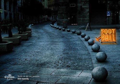 Corona Extra commercial - Drink responsibly: Stones look like footballs