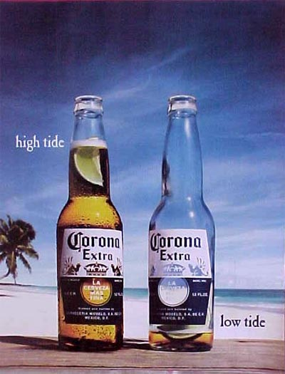Corona Extra - high tide, low tide.