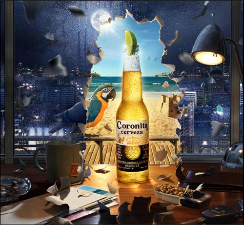 Coronita Cerveza beer ad - a dark office vs. sunny beach.