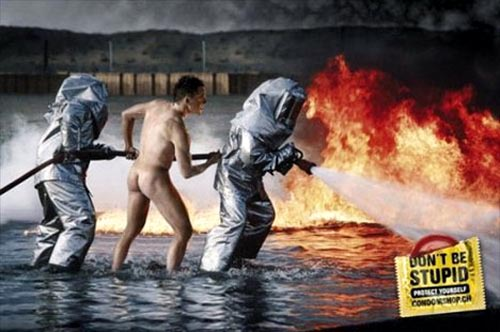 funny condom ads from condomshop.com - firemen, don't be stupid, protect yourself