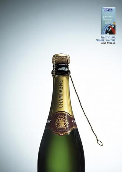 Durex Performa. Delays Climax, Prolongs Pleasure. Funny condom ads with an unopened bottle of champagne.