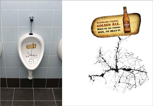 Eisenbahn beer commercial - When we say strong beer, we mean it. Broken pissoir / toilet