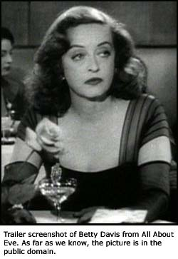 Famous movie quotes: Trailer screen dump of Betty Davis from All About Eve.