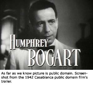 Trailer screen dump of Humphry Bogart in Casablanca.