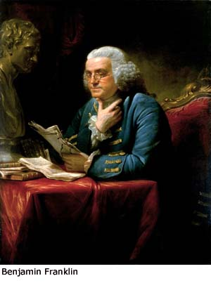 Painting of Benjamin Franklin.