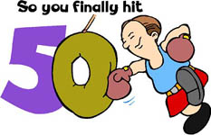 Funny 50th birthday quotes: Funny drawing of guy hitting a sack with boxing gloves.