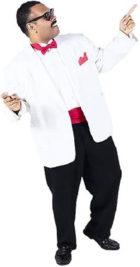 Funny 50th birthday quotes: guy in white tux dancing.