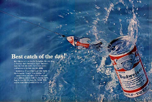 Great Budweiser ads - Beer can caught on fishing rod in the water. The best beer ads