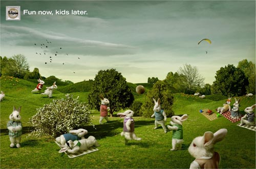 Tulipan condoms ads example: Bunnies in a park - fun now, kids later