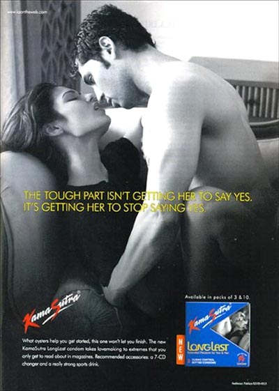Kama Sutra couple making love - condom ads