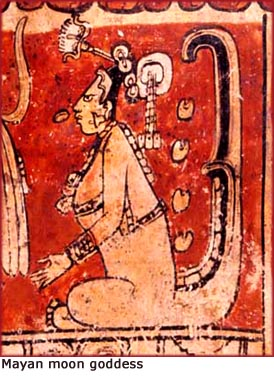 Fun facts: Old painting of Mayan moon goddess with flat forehead.