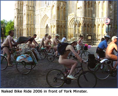 Funny facts and nudism: Photo of the Naked Bike Ride, York Minster.